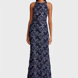 Ralph Lauren navy beaded tulle dress size 8